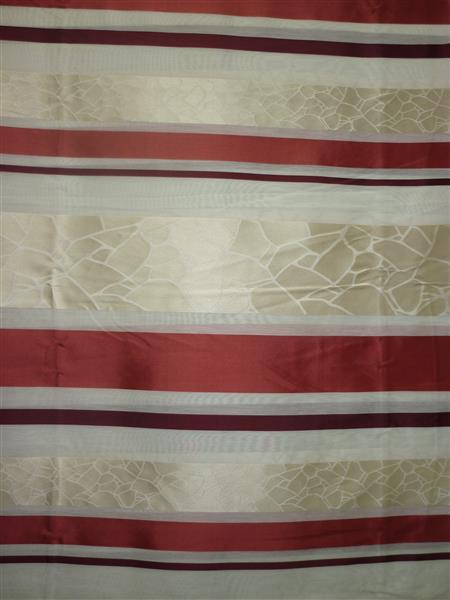 wohnzimmer beige rot:Deko-Stoff Gardine Vorhang Querstreifen rot/beige transp. Meterware