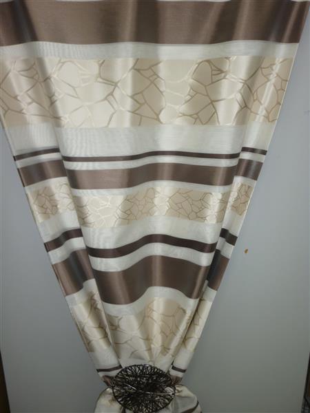 deko stoff gardine vorhang querstreifen beige braun transp. Black Bedroom Furniture Sets. Home Design Ideas