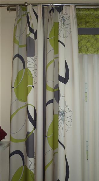 deko stoff gardine vorhang bedruckt streifen kreise apfel schwarz meterware neu ebay. Black Bedroom Furniture Sets. Home Design Ideas