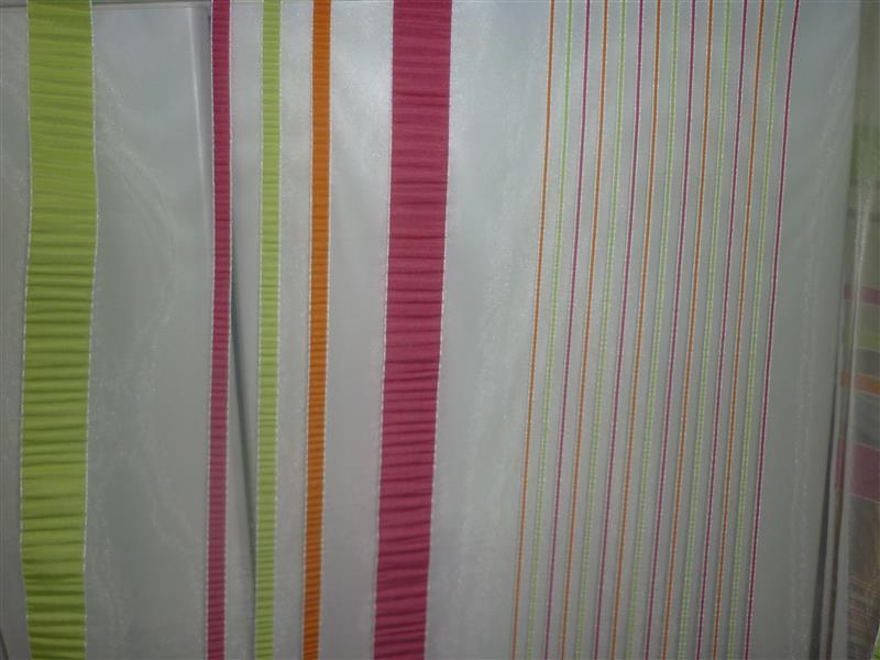 stores gardinen stoff vorhang l ngsstreifen orange pink apfel meterware neu ebay. Black Bedroom Furniture Sets. Home Design Ideas