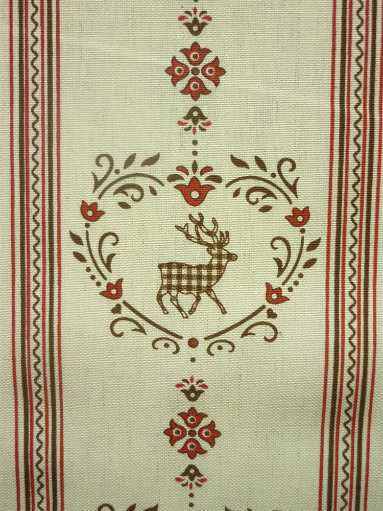deko stoffe gardine vorhang landhaus l ngsstreifen mit hirsch natur rot beige ebay. Black Bedroom Furniture Sets. Home Design Ideas
