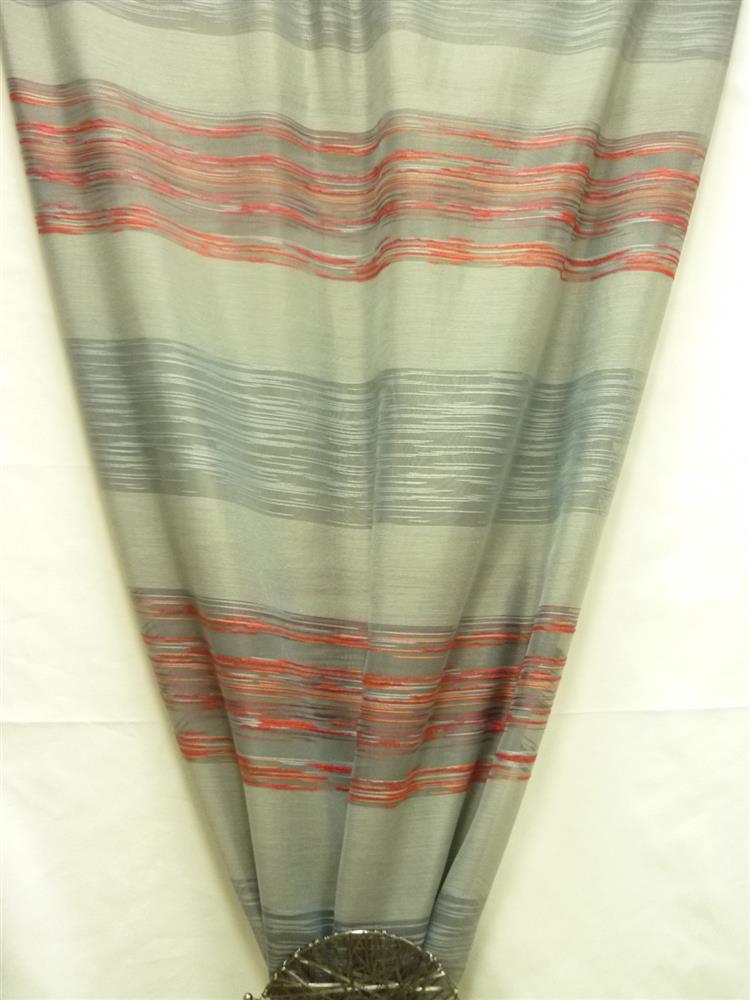 deko stoff gardine vorhang querstreifen grau rot transparent meterware. Black Bedroom Furniture Sets. Home Design Ideas
