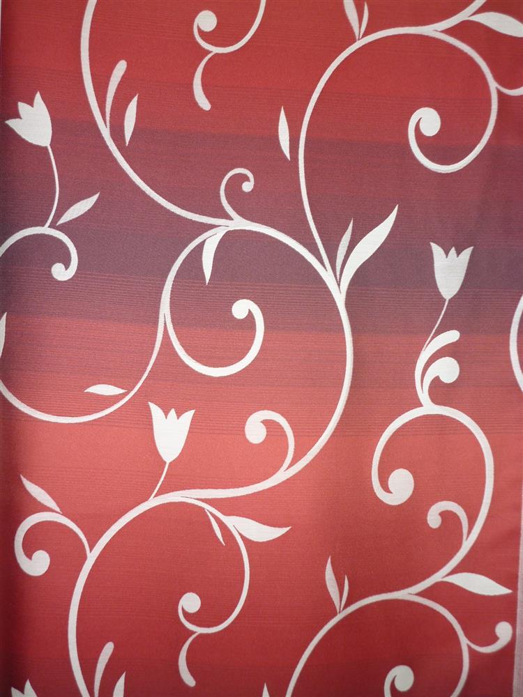 deko stoff gardine vorhang blumenranke querstreifen rot. Black Bedroom Furniture Sets. Home Design Ideas