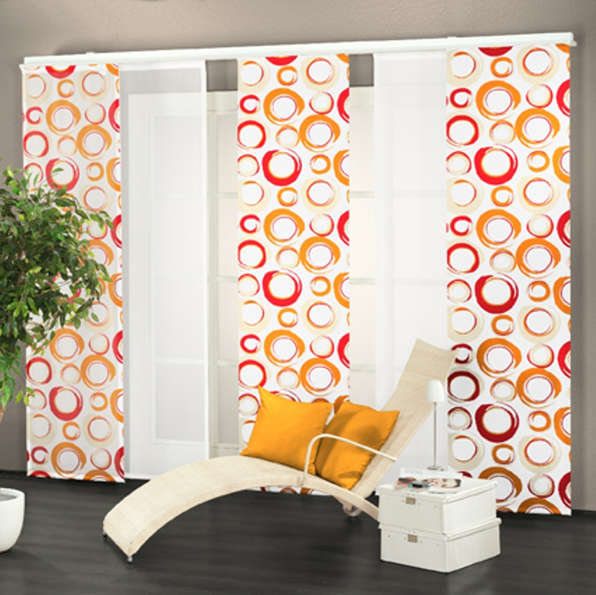 fl chenvorhang schiebegardine kreise orange rot voile 489370 abverkauf ebay. Black Bedroom Furniture Sets. Home Design Ideas