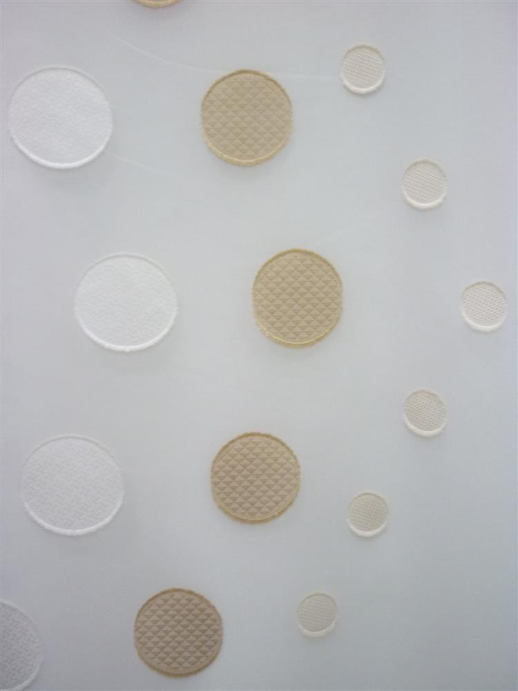 stores gardinen stoff vorhang sherley kreise wei beige transp meterware ebay. Black Bedroom Furniture Sets. Home Design Ideas