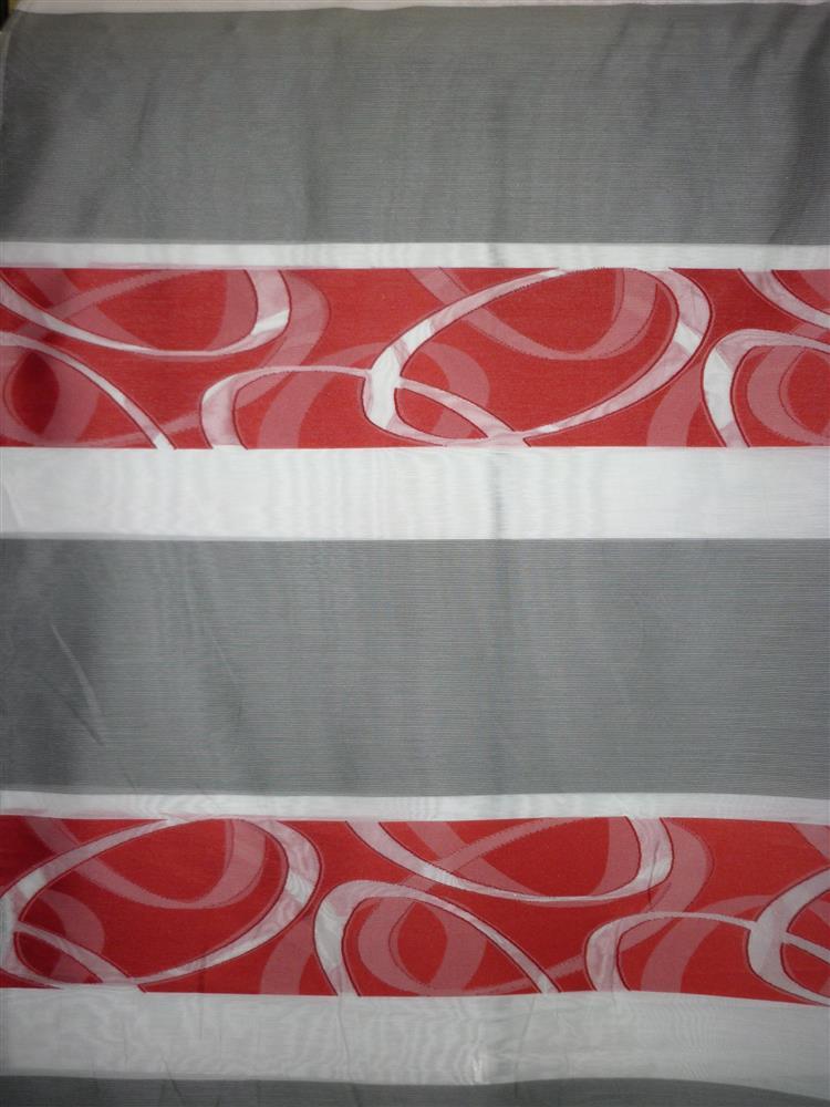 deko stoff vorhang querstreifen wei rot grau teiltransp meterware ebay. Black Bedroom Furniture Sets. Home Design Ideas