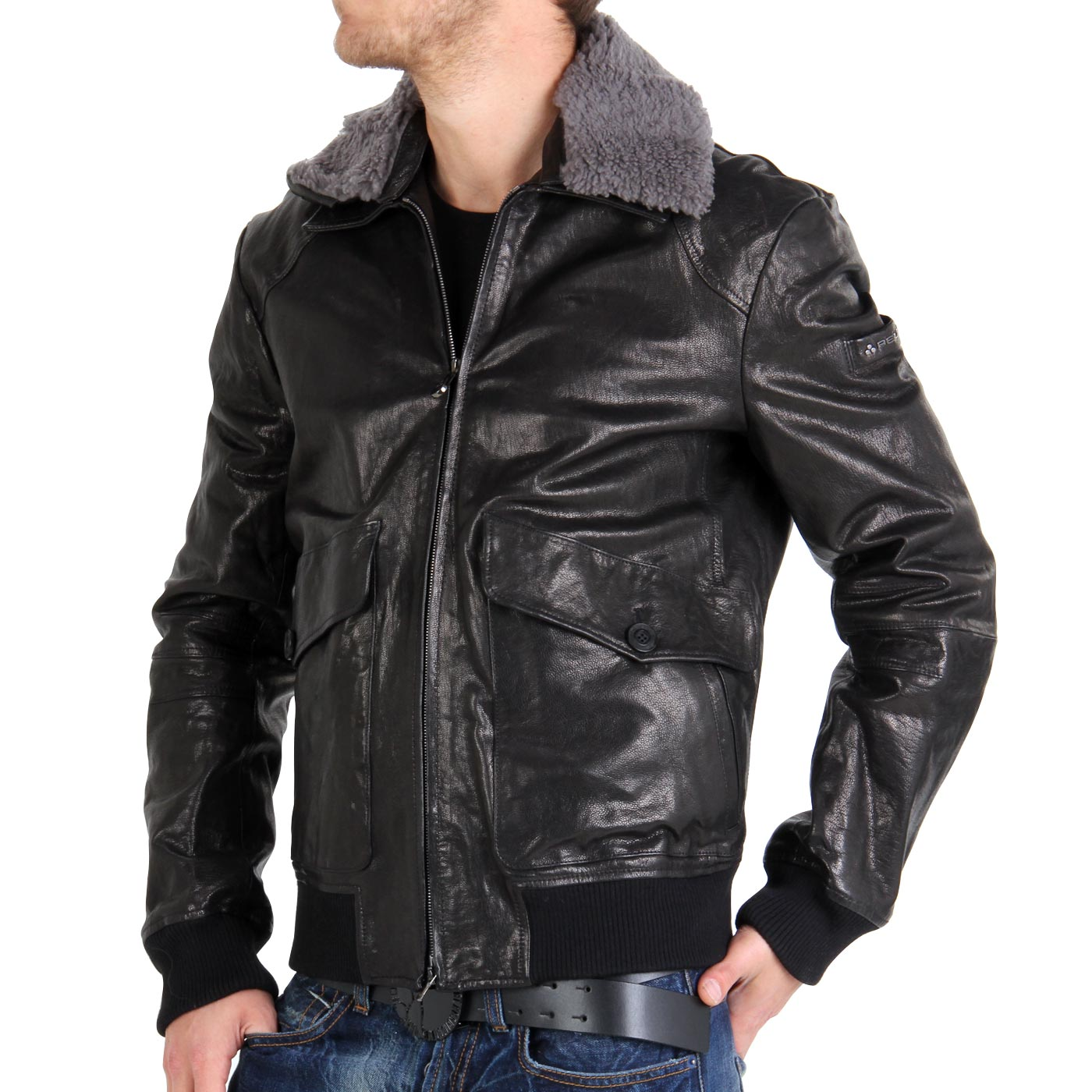 peuterey herren winter lederjacke cliff nero 410 ebay. Black Bedroom Furniture Sets. Home Design Ideas