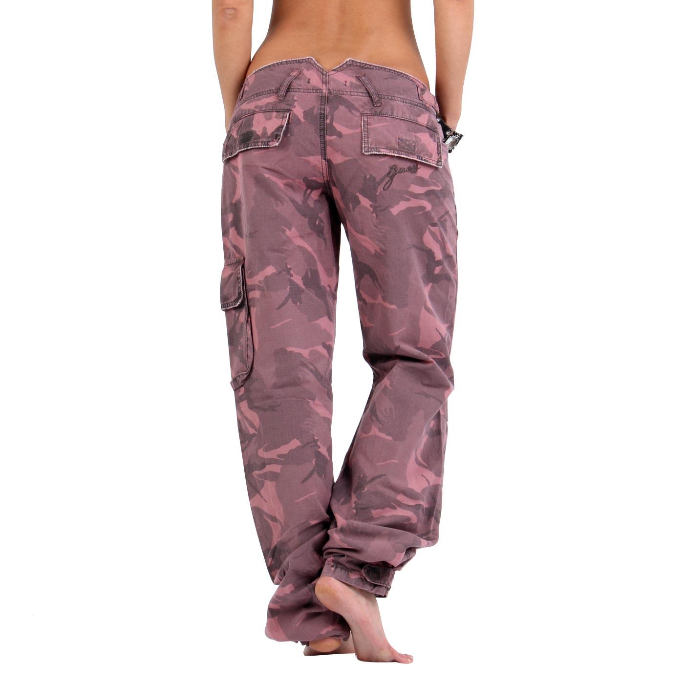 guess jeans damen hose shadow camouflage pink gwb142 ebay. Black Bedroom Furniture Sets. Home Design Ideas