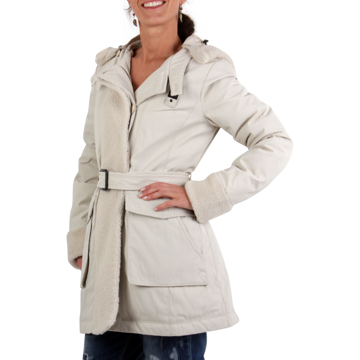blauer usa damen winter daunen parka mantel jacke beige. Black Bedroom Furniture Sets. Home Design Ideas