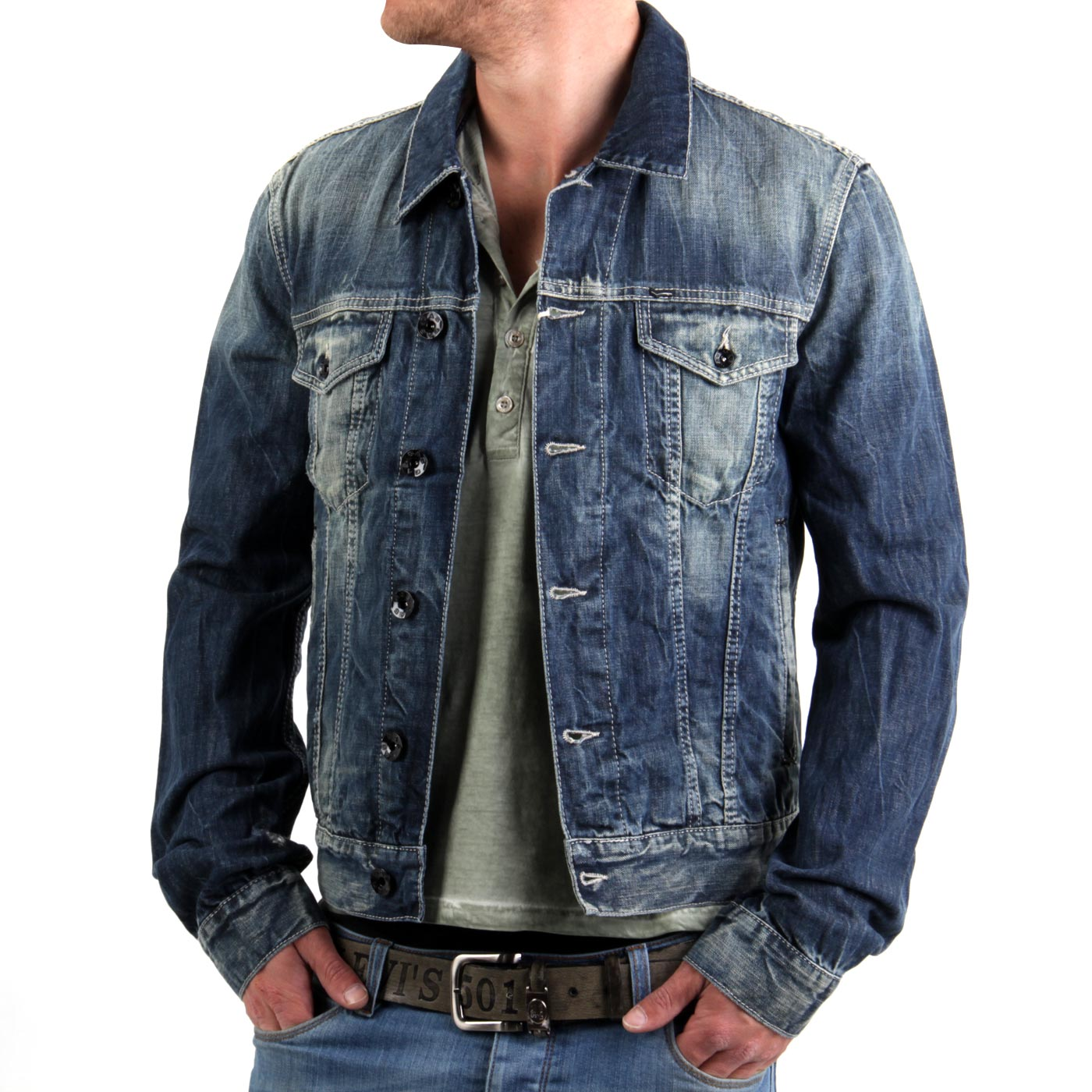 gas herren jeansjacke jacke oklahoma denim dark blue w668 ebay. Black Bedroom Furniture Sets. Home Design Ideas