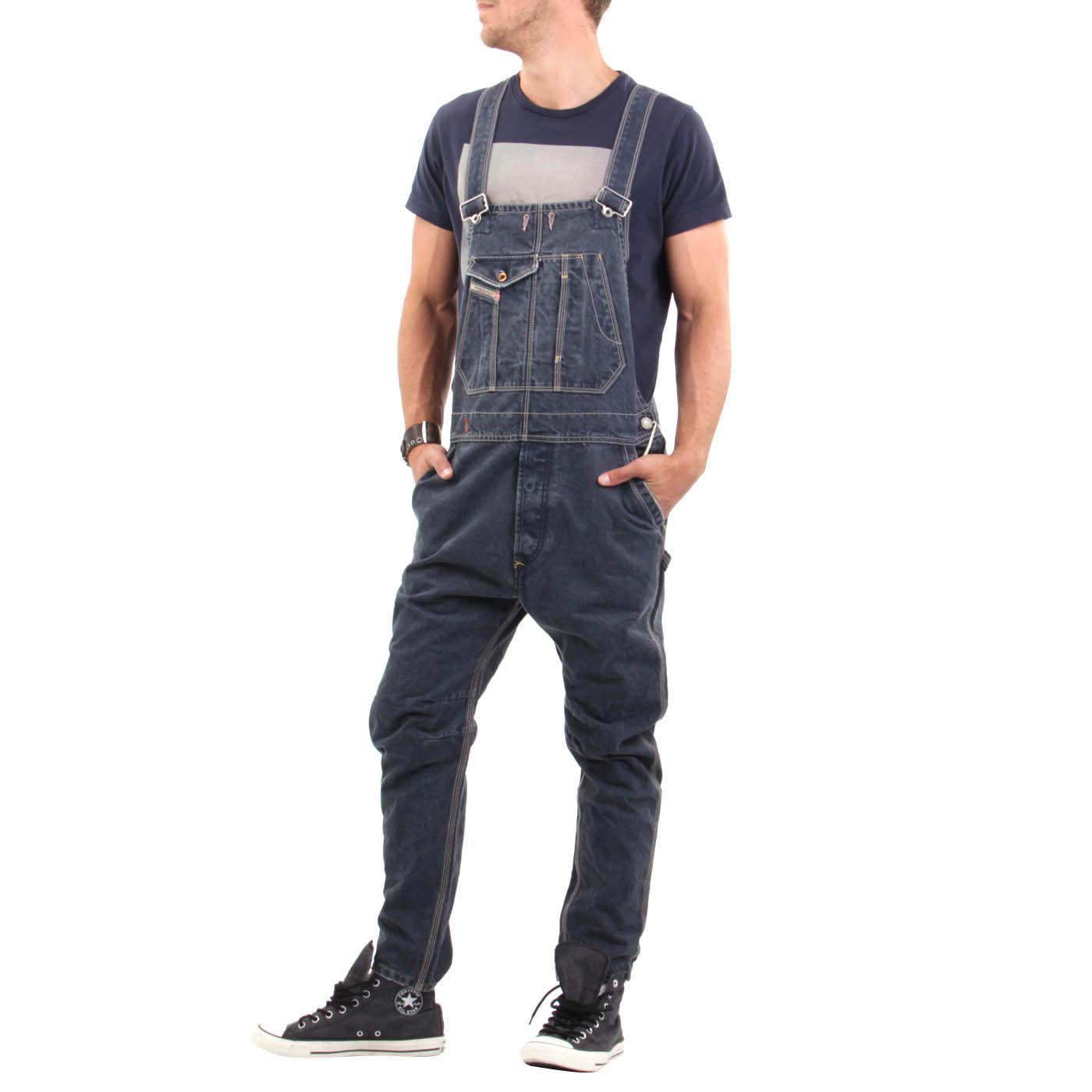 diesel herren jeans hose jumpsuit latzhose dark blue 0802l ebay. Black Bedroom Furniture Sets. Home Design Ideas