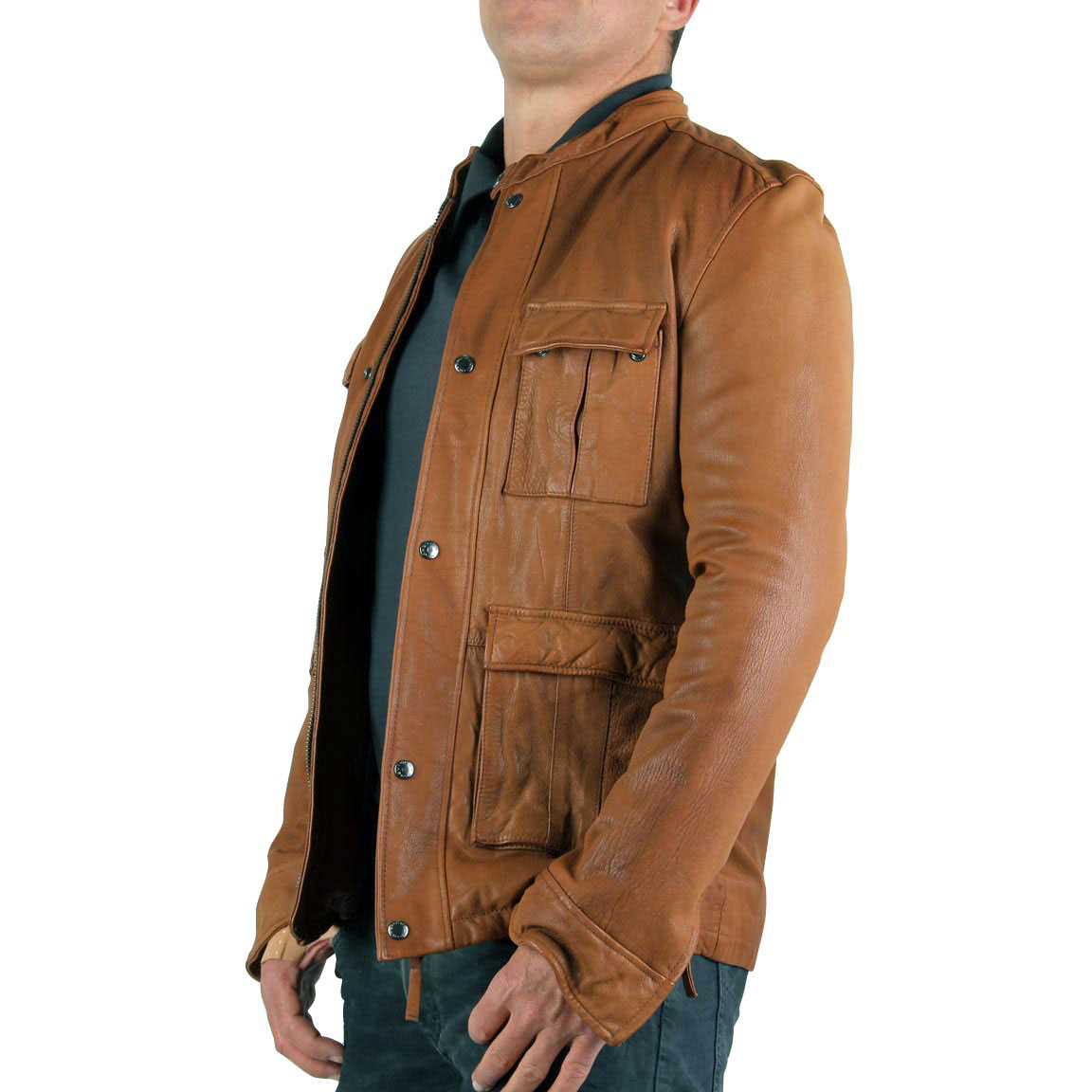 chevignon herren lederjacke vick cognac brown gr e m 50 ebay. Black Bedroom Furniture Sets. Home Design Ideas