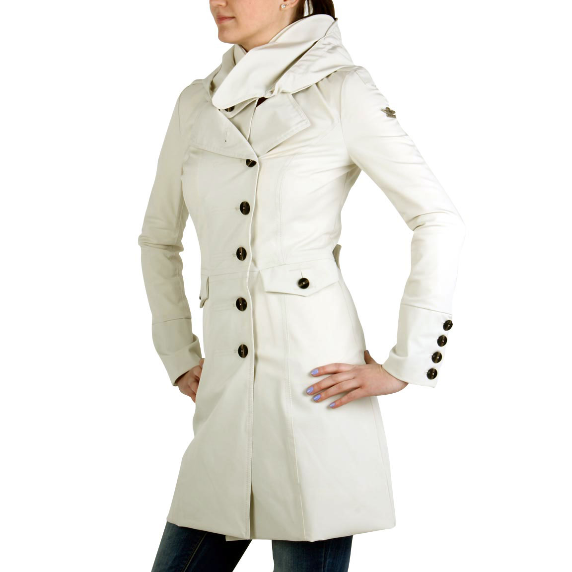 dekher damen sommer trenchcoat vint cream ebay. Black Bedroom Furniture Sets. Home Design Ideas
