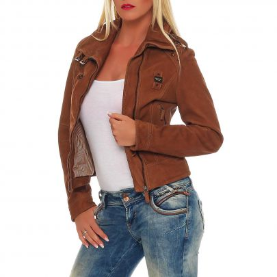 blauer usa damen sommer leder jacke biker brown bld 0224 gr e s ebay. Black Bedroom Furniture Sets. Home Design Ideas