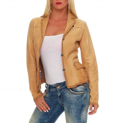 blauer usa damen sommer leder jacke blazer beige bld0026 2 wahl gr l ebay. Black Bedroom Furniture Sets. Home Design Ideas