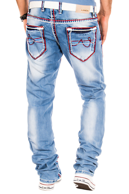 amica herren jeans clubwear vintage hose dicke naht rot verwaschen slim hellblau ebay. Black Bedroom Furniture Sets. Home Design Ideas