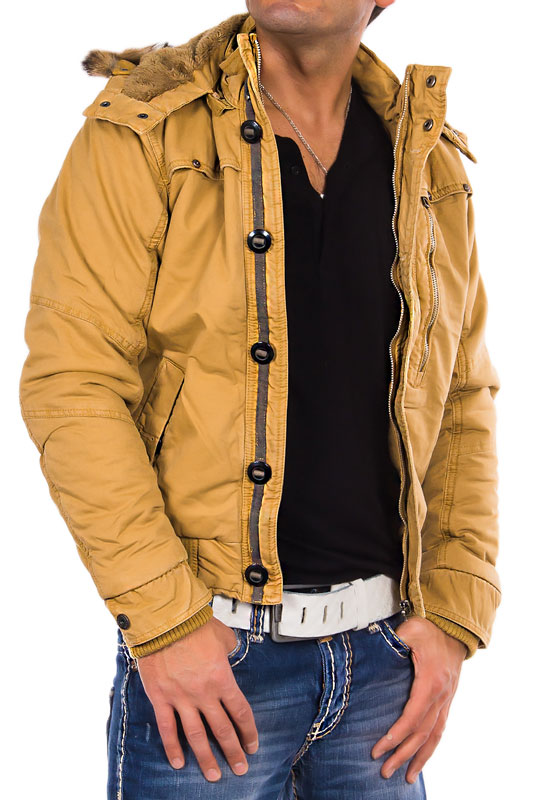 young rich headline herren jacke warme winterjacke parka kapuze mantel beige ebay. Black Bedroom Furniture Sets. Home Design Ideas