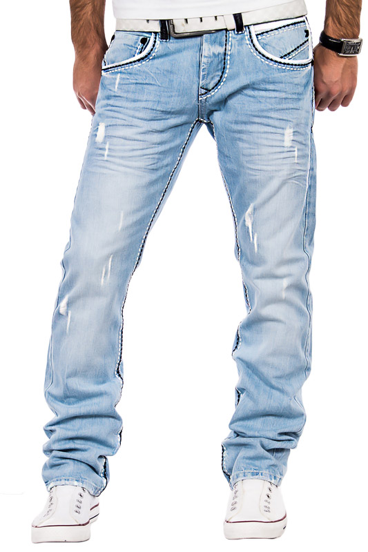 tazzio herren jeans chino hose dicke naht clubwear verwaschen zerissen blau slim ebay. Black Bedroom Furniture Sets. Home Design Ideas