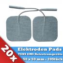 20 Gewebe Elektroden Pads für TENS EMS Reizstrom Gerät mit Stecker 50 x 50mm