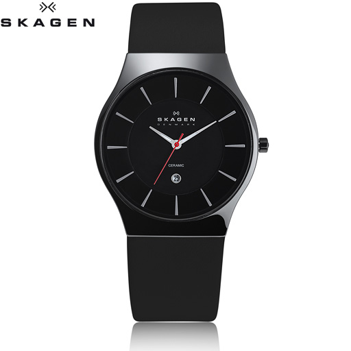 skagen uhr herren keramikuhr mit lederband 233xlclb ebay. Black Bedroom Furniture Sets. Home Design Ideas