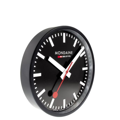 mondaine wall clock black official swiss station clock ebay. Black Bedroom Furniture Sets. Home Design Ideas