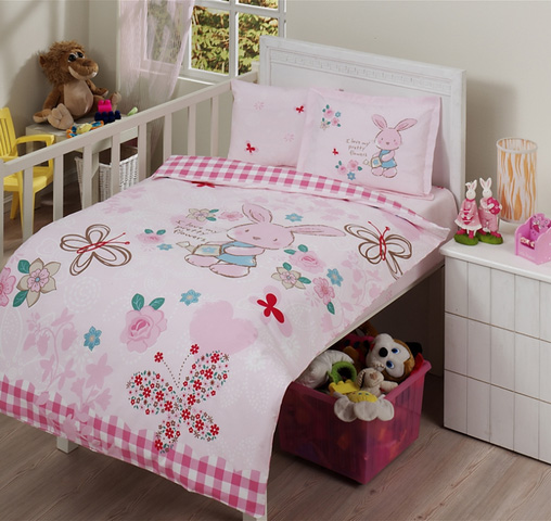 3tlg pink rabbit bettw sche bettbezug kinder bettw sche f r kinder kinderbett ebay. Black Bedroom Furniture Sets. Home Design Ideas