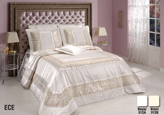 diley bettdecke creme 4tlg tagesdecke bett berwurf set 260x260 neu ebay. Black Bedroom Furniture Sets. Home Design Ideas