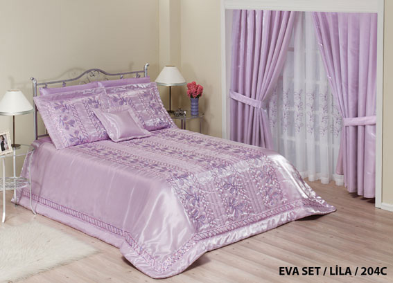 diley bettdecke eva lila tagesdecke bett berwurf set 260x260 neu ebay. Black Bedroom Furniture Sets. Home Design Ideas