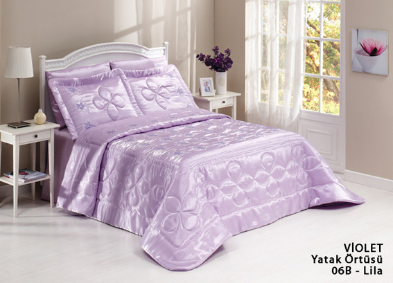 diley bettdecke violet lila 3tlg tagesdecke bett berwurf set 260x260 neu ebay. Black Bedroom Furniture Sets. Home Design Ideas