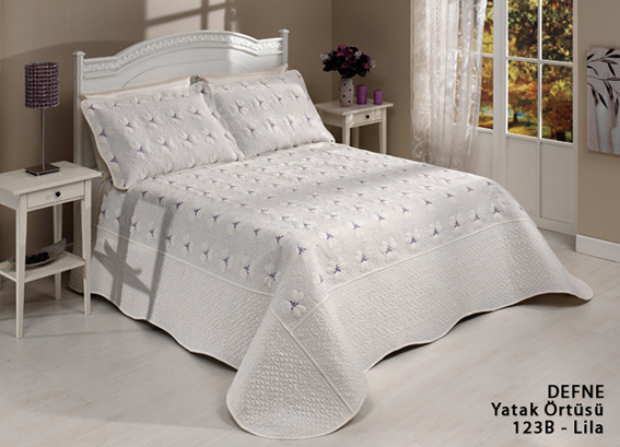 diley bettdecke defne lila 3tlg tagesdecke bett berwurf set 260x250 neu ebay. Black Bedroom Furniture Sets. Home Design Ideas