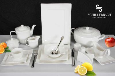 schillerbach tafelservice weiss 12 personen porzellan essservice geschirr neu. Black Bedroom Furniture Sets. Home Design Ideas