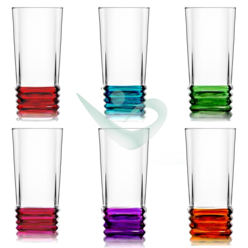 12 Stück Longdrink Wasserglas Glas Trinkglas Bunte ...