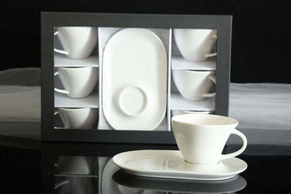 6 tassen untertassen cappuccinotassen porzellan cappucino kaffeetassen teetasse ebay. Black Bedroom Furniture Sets. Home Design Ideas