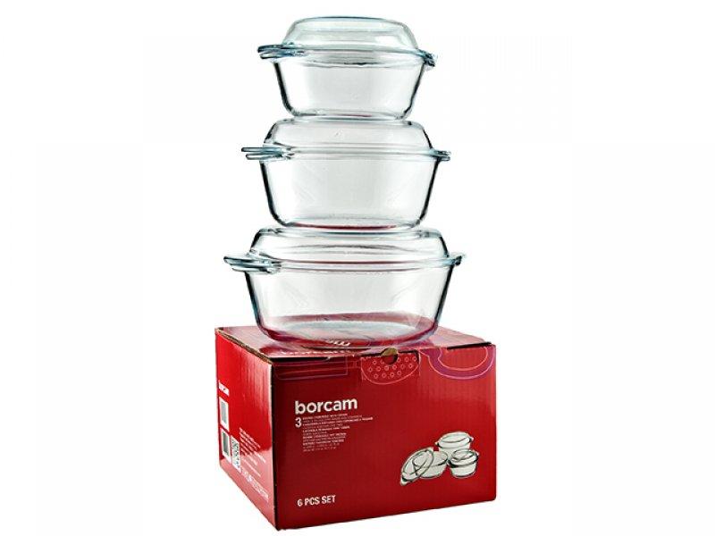 borcam set rund glas auflaufform servierform pasabahce 6 teilig ebay. Black Bedroom Furniture Sets. Home Design Ideas