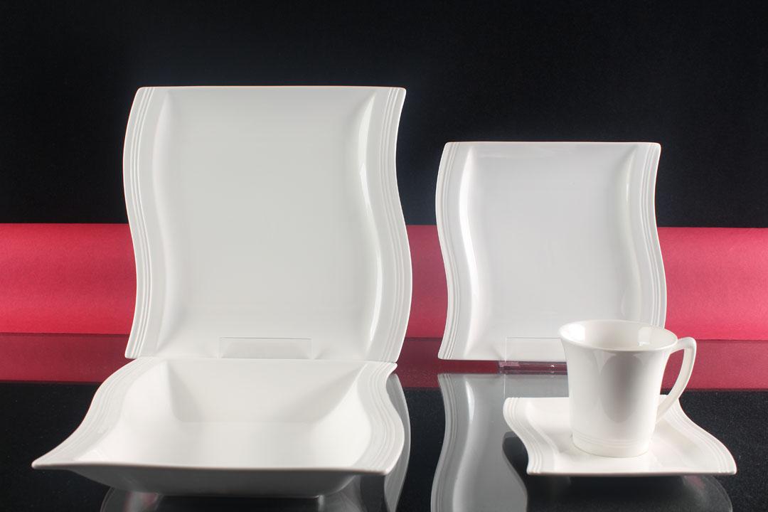 weiss tafelservice 30 teilig 6 personen porzellan set eckig kombiservice neu ebay. Black Bedroom Furniture Sets. Home Design Ideas