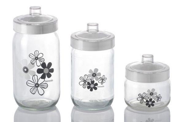 2 x Herevin Kanister Vorratsglas Glasdose Glasbehälter Behälter Teedose Kavanoz