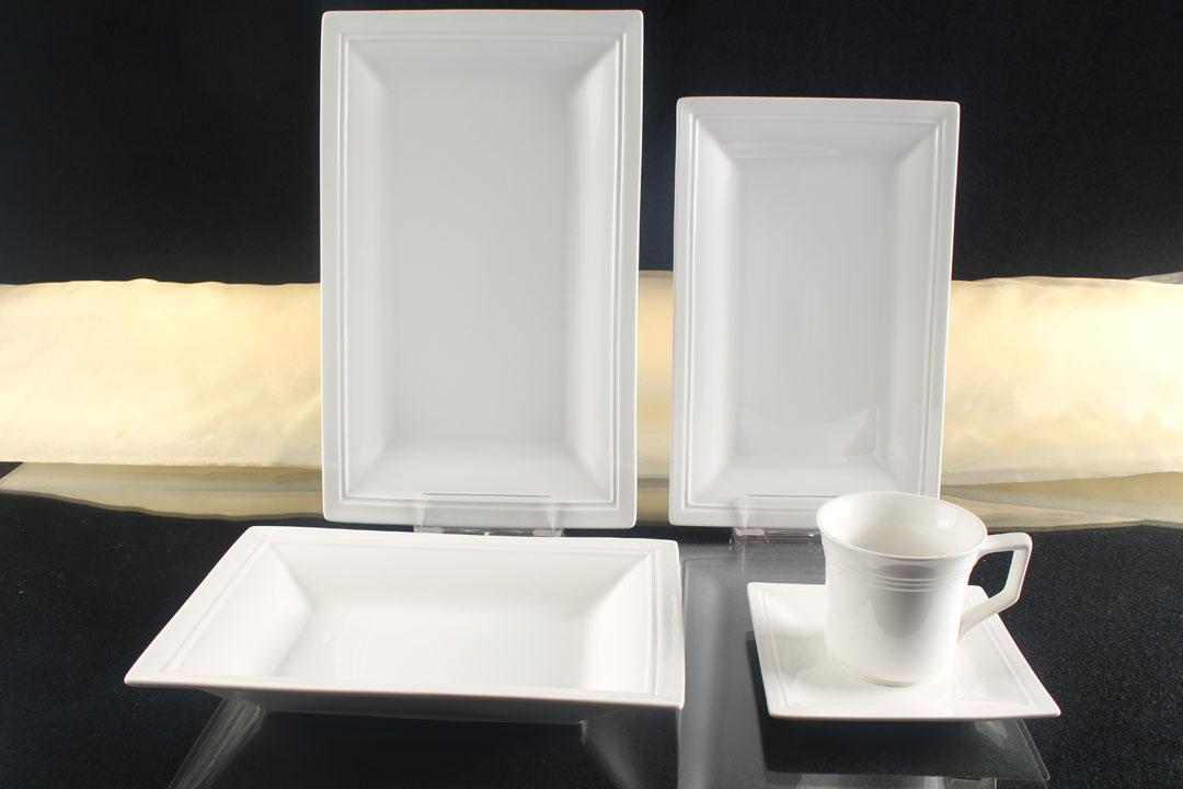 Tafelservice Weiß 12 Personen Porzellan Essservice