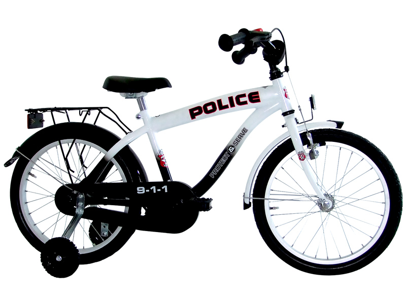 kinderfahrrad 18 zoll us polizei fahrrad kinder rad police. Black Bedroom Furniture Sets. Home Design Ideas