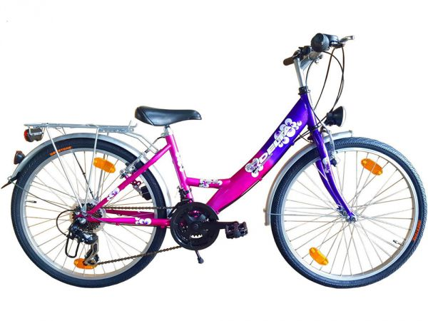 24 zoll m dchen fahrrad city bike 18 gang shimano. Black Bedroom Furniture Sets. Home Design Ideas