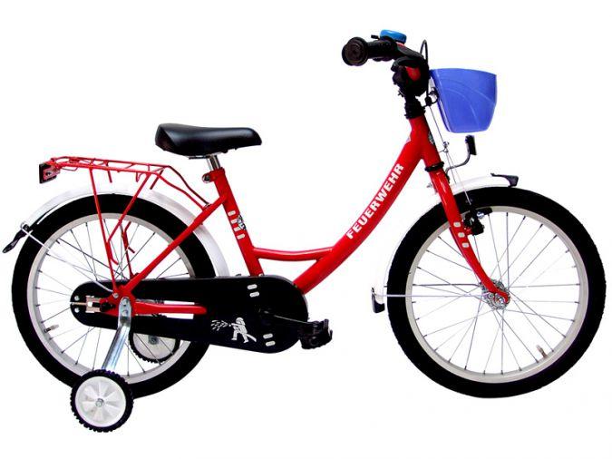 18 zoll kinderfahrrad feuerwehr fahrrad k rbchen ebay. Black Bedroom Furniture Sets. Home Design Ideas