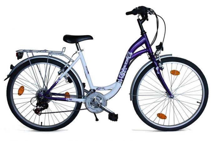 26 zoll cityrad damenfahrrad fahrrad cityfahrrad lila weiss. Black Bedroom Furniture Sets. Home Design Ideas