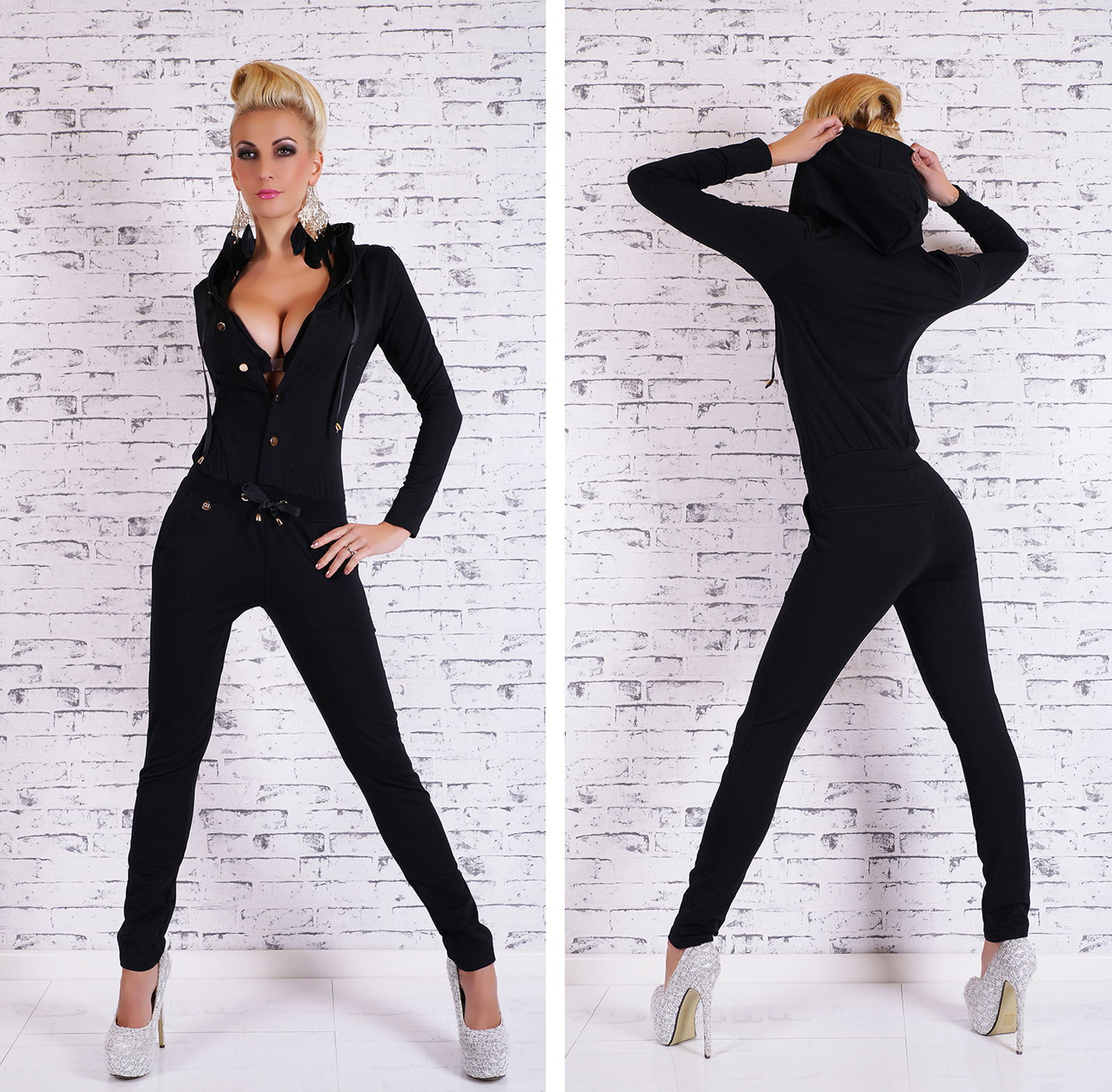 sexy damen sportlicher kurzarm overall jumpsuit jogging. Black Bedroom Furniture Sets. Home Design Ideas