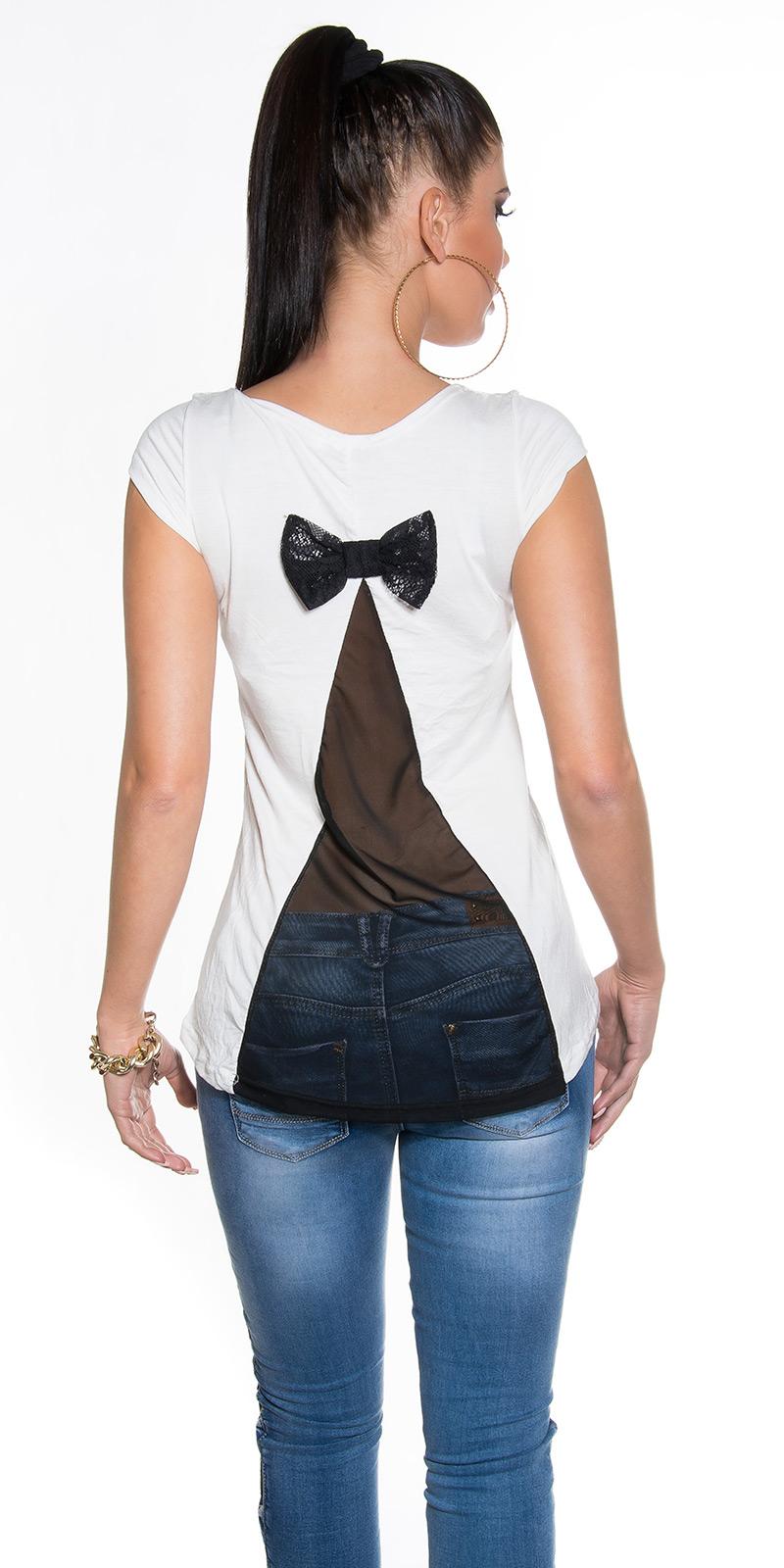 damen kurzarm sommertop shirt tunika bluse mit schleife transparenter r cken ebay. Black Bedroom Furniture Sets. Home Design Ideas