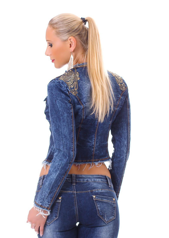damen jeansjacke jeans jacke figurbetont bauchfrei stonewasched. Black Bedroom Furniture Sets. Home Design Ideas