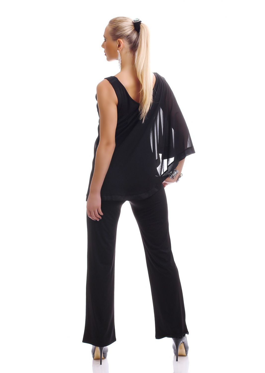 damen eleganter overall jumpsuit einteiler hosenanzug onesie chiffon oberteil ebay. Black Bedroom Furniture Sets. Home Design Ideas