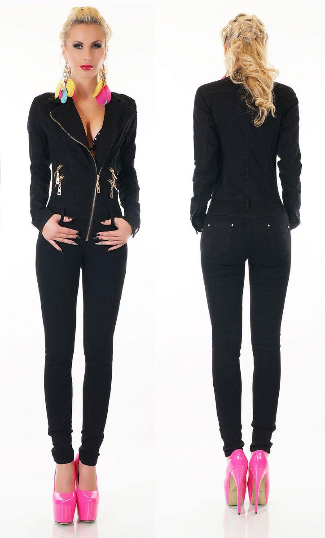 damen langarm jeans overall jumpsuit catsuit r hrenjeans skinny denim. Black Bedroom Furniture Sets. Home Design Ideas