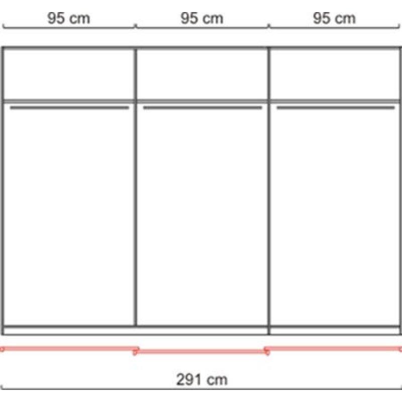 schwebet renschrank kleiderschrank spiegel weiss ca 300 cm schiebet ren ebay. Black Bedroom Furniture Sets. Home Design Ideas