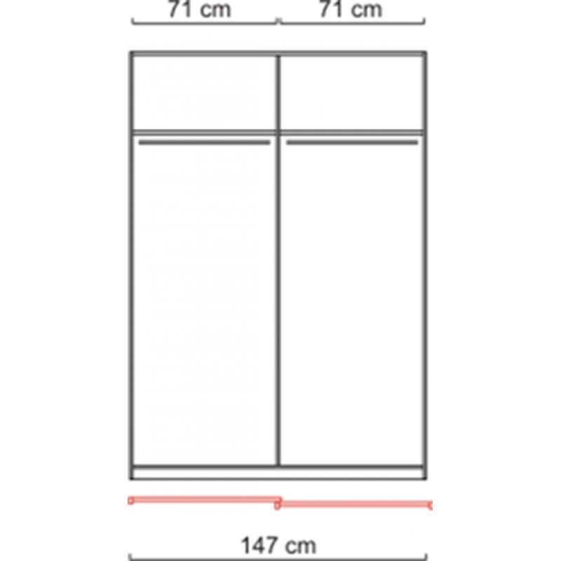 schwebet renschrank kleiderschrank weiss spiegel ca 150 cm schiebet ren ebay. Black Bedroom Furniture Sets. Home Design Ideas