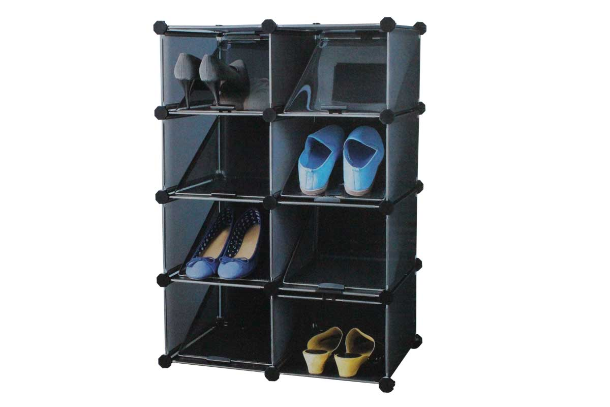 schuhregal regal regalsystem flexibel raumteiler schwarz wei transparent neu ebay. Black Bedroom Furniture Sets. Home Design Ideas