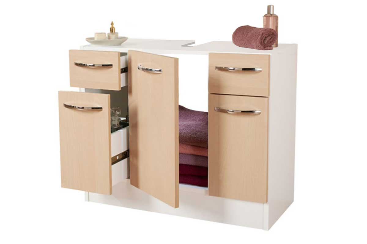 waschbeckenunterschrank badezimmer unterschrank wei birke neu 67x57x33 ebay. Black Bedroom Furniture Sets. Home Design Ideas